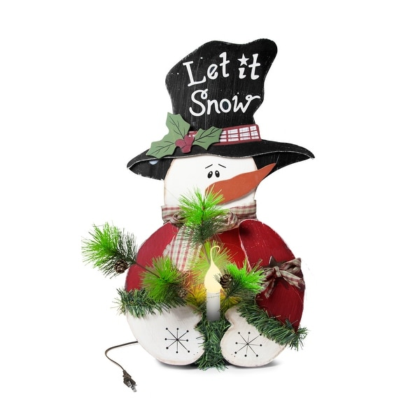 Country Snowman with Light Up Candle Decoration