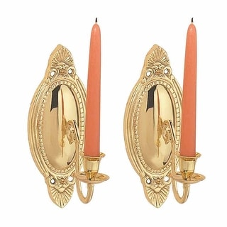 2 Wall Sconces Bright Brass Candle Holders Set of 2 | Renovator's Supply
