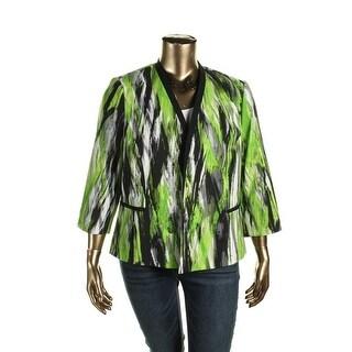 Kasper Womens Plus Jacket 3/4 Sleeves Printed