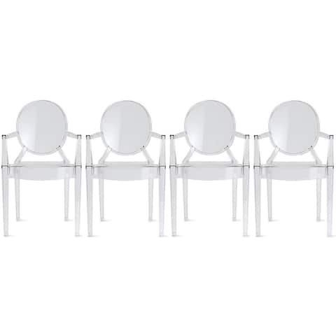 Set of 4 Clear Stacking Designer Crystal Molded Transparent Dining Chairs With Arms Armchairs Backs Kitchen