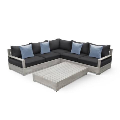 OVE Decors Beranda II 3-Piece Wood Frame Grey Patio Sectional Set.