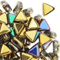 Czech Glass Kheops par Puca, 2-Hole Triangle Beads 6mm, 9 Grams, California Green
