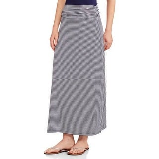 JADA Collections Women's Fashion Maxi Skirt with Shirred Waistband, Navy Stripe