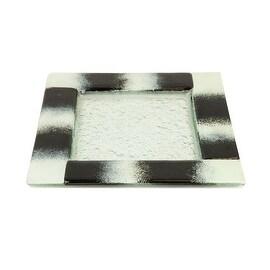 Turgla Glass Dinnerware Square Dinner Plate, Black and White
