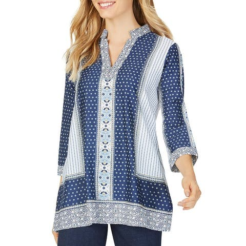 Foxcroft NYC Womens Angelica Tunic Top Printed V-Neck - Multi