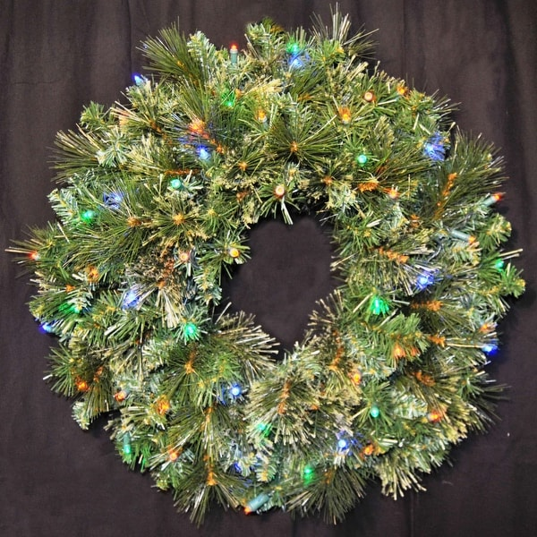 "Christmas at Winterland WL-GWBM-02-L5M 24"" Pre-Lit Multicolor LED Blended Pine Wreath Indoor / Outdoor - N/A"