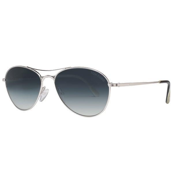 a36a9374c28f1 Tom Ford Oliver TF 495 18W 56mm Shiny Rhodium Blue Gradient Aviator  Sunglasses - shiny