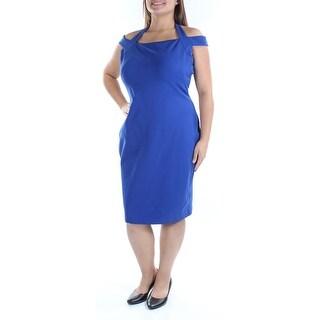 RALPH LAUREN $165 Womens New 1327 Blue Cut Out Halter Short Sleeve Dress 16 B+B