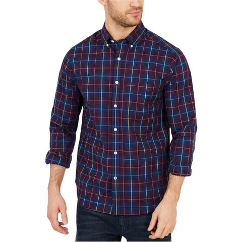 Nautica Mens Classic Fit Plaid Button Up Shirt, Red, X-Small