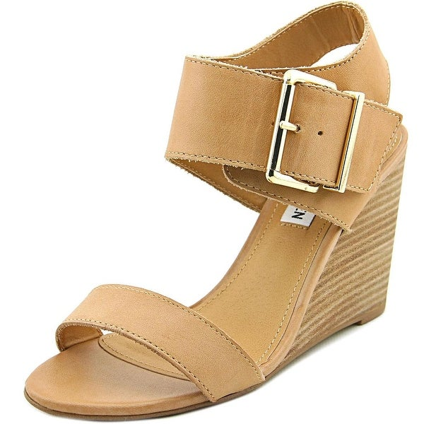 Steve Madden Winston Women Open Toe Leather Tan Wedge Sandal