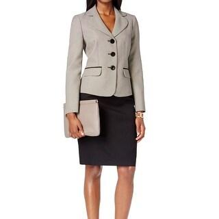 Le Suit NEW Black Ivory Women's Size 4 Contrast Trim Skirt Suit Set