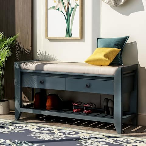 Antique Navy Storage Bench with Cushioned Seat and Drawers
