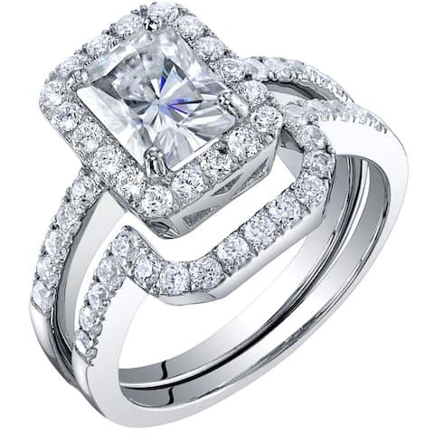 2 Carat Moissanite Halo Engagement Ring Wedding Band Bridal Set in Sterling Silver