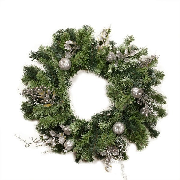 "24"" Pre-Decorated Silver Fruit, Holly Berry and Leaf Artificial Christmas Wreath - Unlit - green"