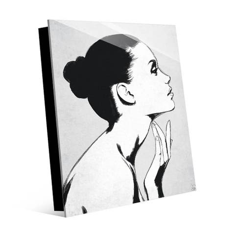 Kathy Ireland Woman's Grayscale Profile Portrait on Acrylic Wall Art Print