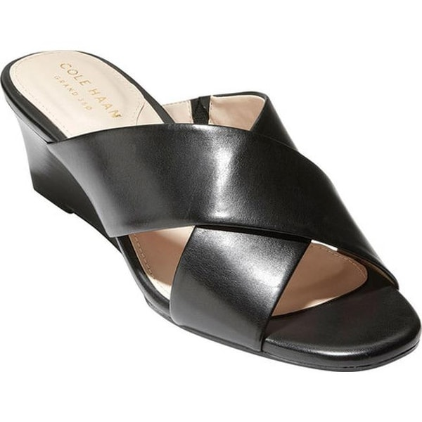 867ceef5e704d Cole Haan Women's Adley Grand Wedge Sandal Black/Black Stack Leather