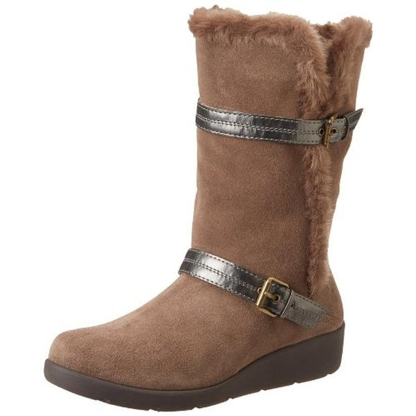 Easy Spirit Womens Usko Winter Boots Suede Faux Fur