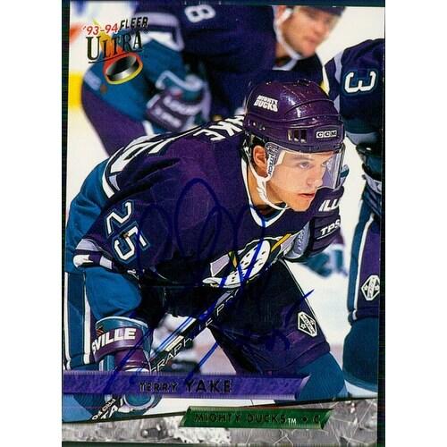 Signed Yake Terry Anaheim Mighty Ducks 1994 Fleer Hockey Card autographed