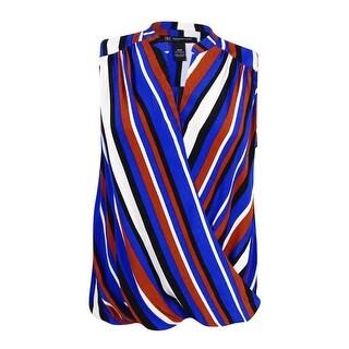 INC International Concepts Women's Plus Size Striped Surplice Top - column stripe