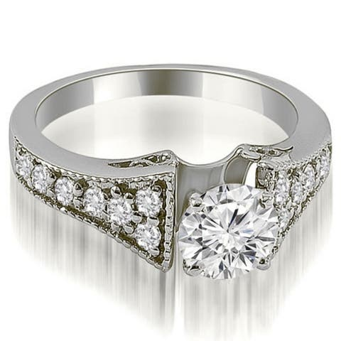 1.00 CT Vintage Cathedral Round Diamond Engagement Ring in 14KT Gold - White H-I