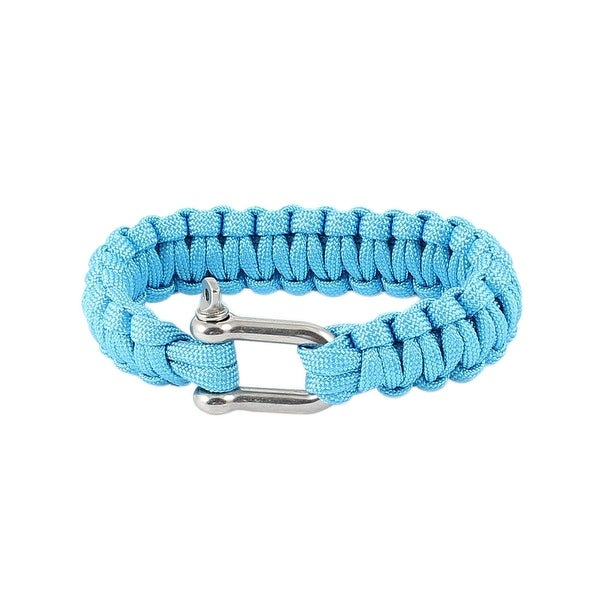 Unique Bargains Blue Nylon Quick Release Weave Cord Survival Bracelet Shackle Camping Kits