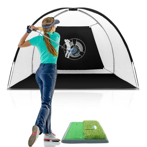 Gymax Portable 10' Golf Practice Set Golf Hitting Net Cage w Target