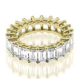5.50 cttw. 14K Yellow Gold Exquisite Shared Prong Emerald Diamond Eternity Ring