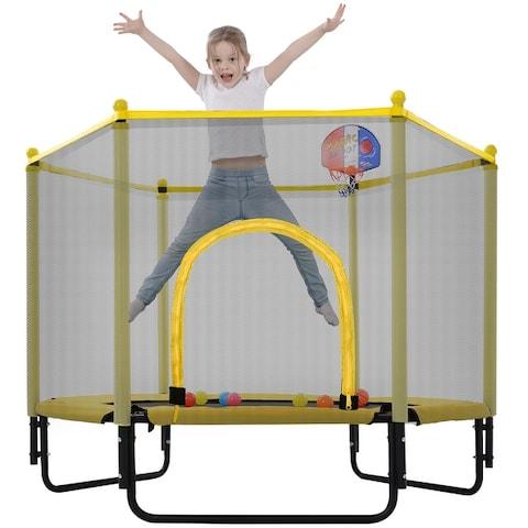 Brexine 5FT Trampoline with Enclosure Net, Basketball Hoop