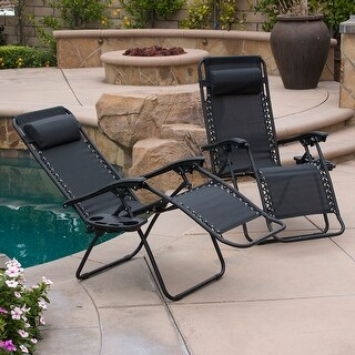 Belleze 2-Pack Zero Gravity Patio Lounge Chairs+Cup Holder Utility Tray