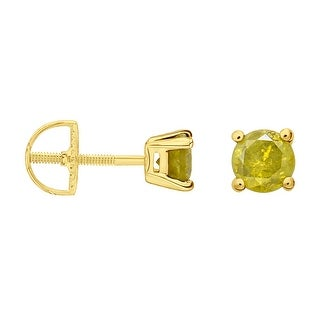 Prism Jewel 3.20mm 0.25Ct Round Cut Yellow Color Diamond Screw Back Stud Earring