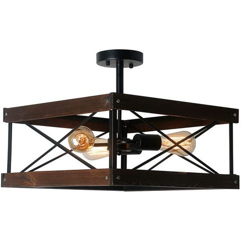 Vintage black semi flush mount wood square ceiling light fixture