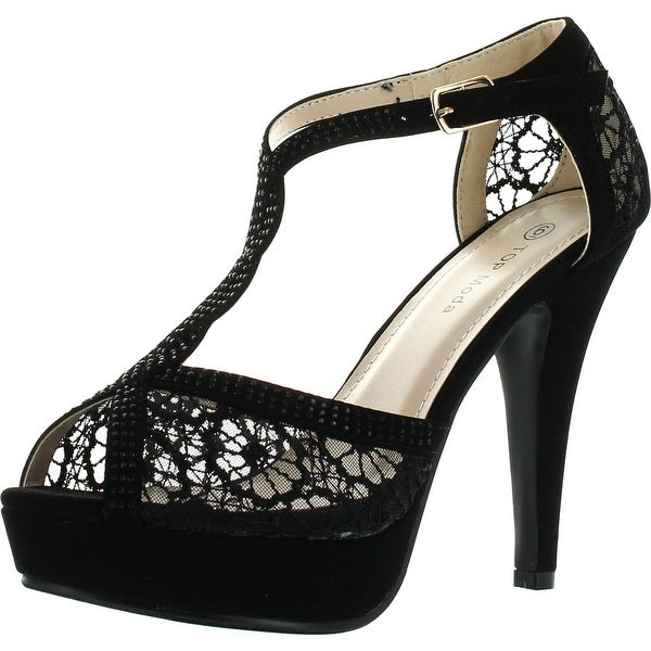 Top Moda Hy-5 Formal Evening Party Lace Ankle T-Strap Peep Toe Stiletto High Heel Pumps