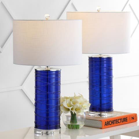 """Cole 27.5"""" Modern Fused Glass Cylinder LED Table Lamp, Cobalt (Set of 2) by JONATHAN Y"""