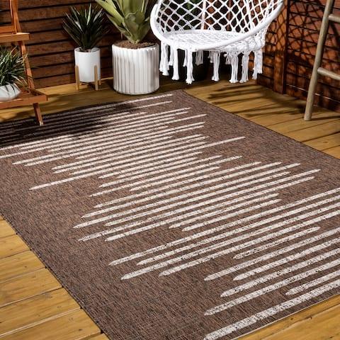 JONATHAN Y Zolak Berber Stripe Geometric Indoor/Outdoor Area Rug