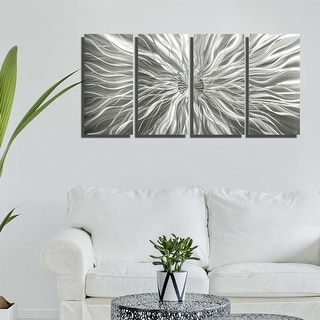 Statements2000 Modern 3D Metal Wall Art Silver Sculpture Panels by Jon Allen - Static