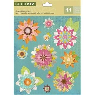 Studio 112 Dimensional Stickers-Geo Bright Floral
