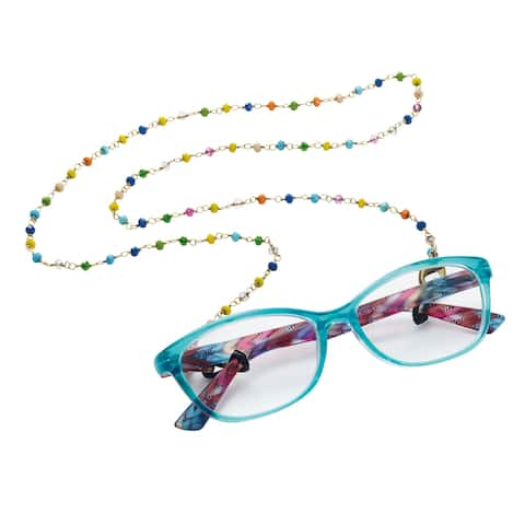 Floriana Multicolor Crystals & Brass Eyeglass Leash - Glasses Strap Chain Holder
