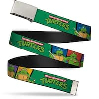 "Blank Chrome 1.0"" Buckle Classic Tmnt Group Pose3 Tmnt Logo Green Multi Web Belt 1.0"" Wide - S"