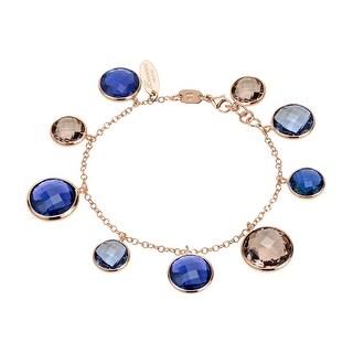 Zoccai 925 Amethyst & Rhodolite Bracelet in Rose Gold-Toned Sterling Silver - Purple