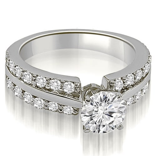 1.60 cttw. 14K White Gold Two Row Round Cut Diamond Engagement Ring