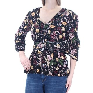 Womens Black Yellow Floral 3/4 Sleeve V Neck Button Up Top Size M