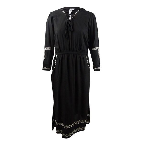 Shop NY Collection Women\'s Plus Size Maxi Peasant Dress - Black ...