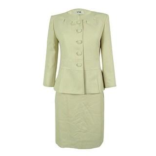 Le Suit Women's Golden Touch Textured Skirt Suit - Beige/White - 4