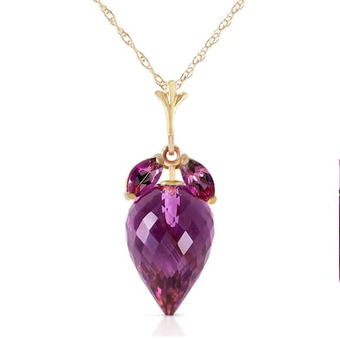 10 Carat 14K Solid Gold Necklace Marquis Pointy Briolette Amethyst