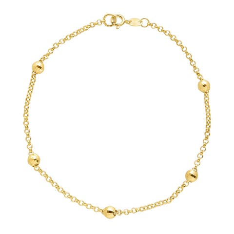 Eternity Gold Beaded Shimmer Rolo Chain Bracelet in 10K Gold - Yellow
