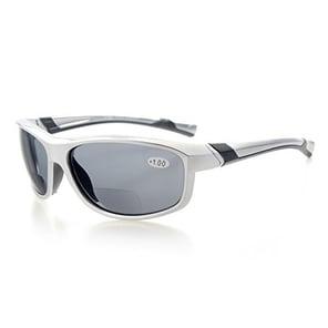 Eyekepper TR90 Unbreakable Sports Bifocal Sunglasses Silver Frame Grey Lens +2.5