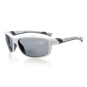 Eyekepper TR90 Unbreakable Sports Bifocal Sunglasses Silver Frame Grey Lens +2.5
