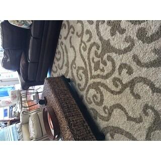 Safavieh Florida Shag Ornate Cream/ Beige Damask Area Rug (8' x 10')