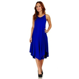 Simply Ravishing Women's Spaghetti Strap Mid-Length A-Line Rounded Hem Dress (Size: S-3X)