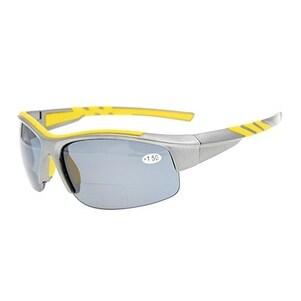 Eyekepper TR90 Unbreakable Sports Bifocal Half Rimless Sunglasses Grey Frame Grey Lens +1.0